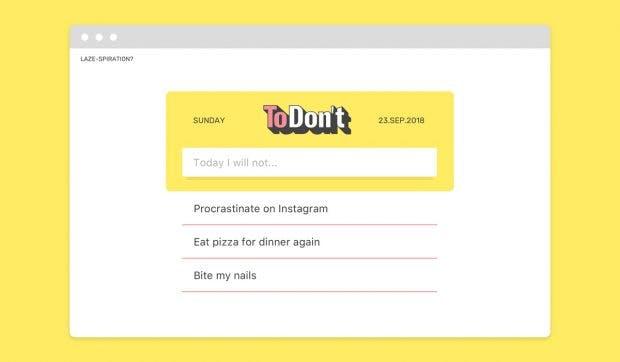 ToDon't für Chrome: Eure To-don't-Liste wird euch mit jedem neuen Tab erneut angezeigt. (Grafik: Burrow)