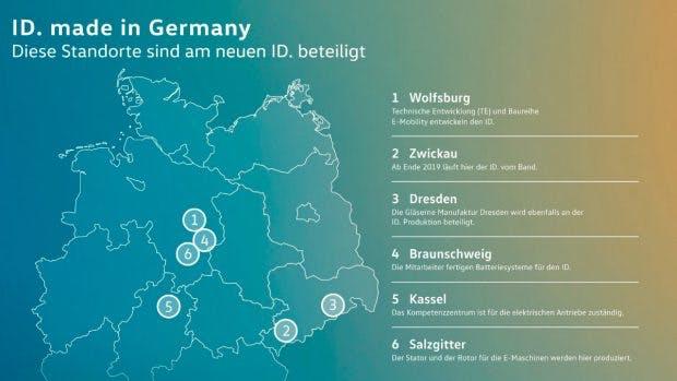 Insgesamt sind sechs deutsche Volkswagen Standorte an der Entwicklung und Produktion des Volkswagen ID. beteiligt.