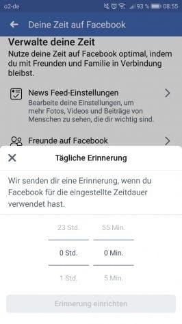 Zeit auf Facebook Erinnerung