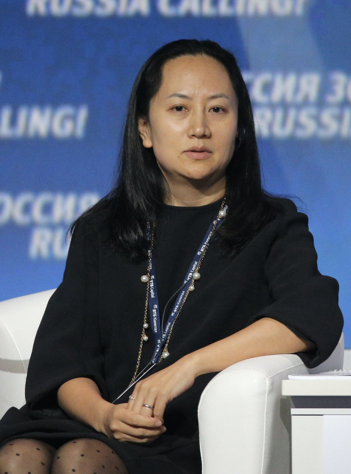 epa04427863 Meng Wanzhou, Executive Board Director, Huawei, attends the VTB Capital's 'RUSSIA CALLING' Investment forum in Moscow, Russia, 02 October 2014. The forum according to VTB Capital is designed to promote portfolio and strategic investment into Russia's economy and facilitate effective interaction between Russian business leaders and international investors. EPA/MAXIM SHIPENKOV |