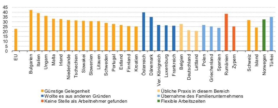 Hauptgrund für die Selbstständigkeit nach Ländern, 2017 (in % der Selbstständigen) (Grafik: Eurostat)
