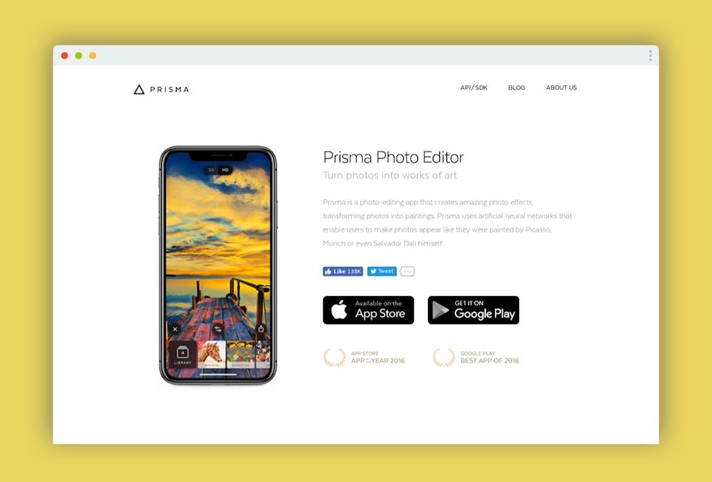 App des Jahres bei Apple, die beste App in Googles Playstore: Noch heute schmücken sich die Macher von Prisma auf ihrer Website mit diesen Auszeichnungen. Doch der mediale Hype um die KI-basierte Foto-App liegt bereits über zwei Jahre zurück. Im Sommer 2016 luden sich über zehn Millionen Menschen die App auf ihr Smartphone, um gewöhnliche Alltagsfotos in stilvolle Gemälde nach dem Vorbild von Picasso zu verwandeln. Tatsächlich hat sich die App seitdem durchaus positiv entwickeln. Im Frühjahr 2018 gaben die russischen Entwickler an, die Marke von 50 Millionen Downloads geknackt zu haben. (Screenshot: t3n)