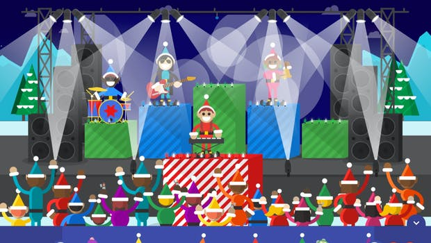 Interaktiver Adventskalender Santa-Tracker – Wichtel-Konzert. (Screenshot: Google)