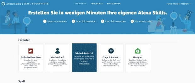 Alexa Skill Blueprints: Skills erstellen, ohen Programmierkenntnisse. (Screenshot: t3n.de)