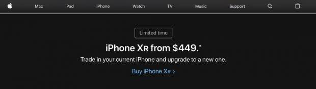 Apple versucht mit prominent positionierter Werbung für sein Trade-in-Programm die iPhone-Verkäufe anzukurbeln. (Screenshot: t3n.de)