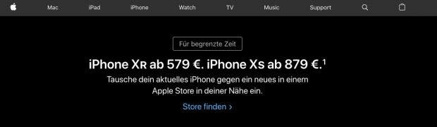 Auf der Startseite von Apple Deutschland wird die Verkaufsaktion des iPhone Xr und Xs aggressiv beworben. (Screenshot: t3n.de)