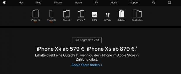Auch auf den iPhone-Produktseiten bewirbt Apple seine Umtauschaktion. (Screenshot: t3n.de)