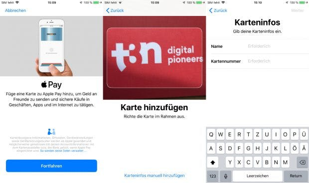 Kreditkarten lassen sich bei Apple Pay und Google Pay einfach einscannen. (Screenshots: t3n.de)