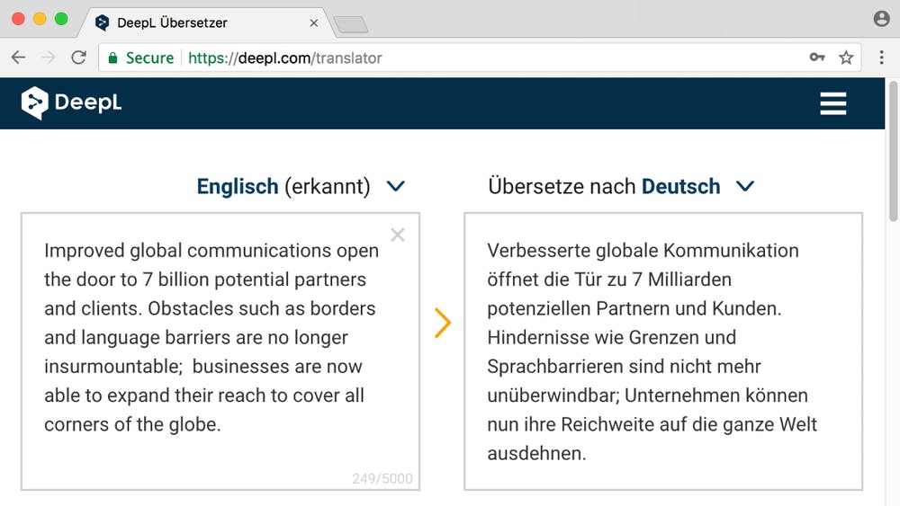Ähnlich wie der Google Übersetzer kann auch Deepl komplette Sätze übersetzen. (Screenshot: Deepl)