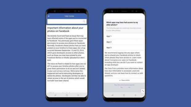 Facebook informiert betroffene Nutzer über die Datenpanne. (Bild: Facebook)