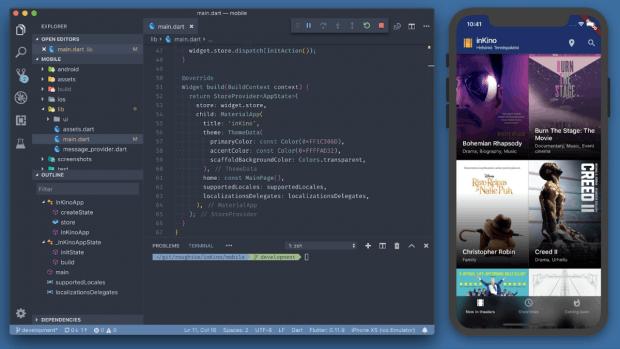 Flutter wird mit Dart entwickelt. Auch die App Inkino setzt auf Googles Open-Source-Framework. (Grafik: Google)