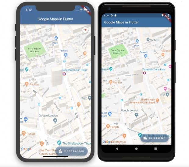 """""""Platform Views"""" integrieren sich nahtlos in Flutter. Über dem Google-Maps-Plugin findet sich ein Flutter-Floating-Action-Button mit Transparenz. (Grafik: Google)"""