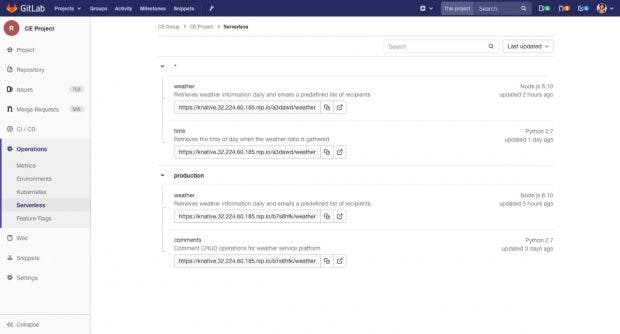 Die nächste Gitlab-Version soll euch bei der Verwaltung serverloser Workloads unterstützen. (Screenshot: Gitlab)
