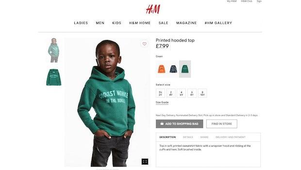 Mit diesem Werbefoto handelte sich H&M einen Shitstorm ein. (Screenshot: Twitter / Charles M. Blow)