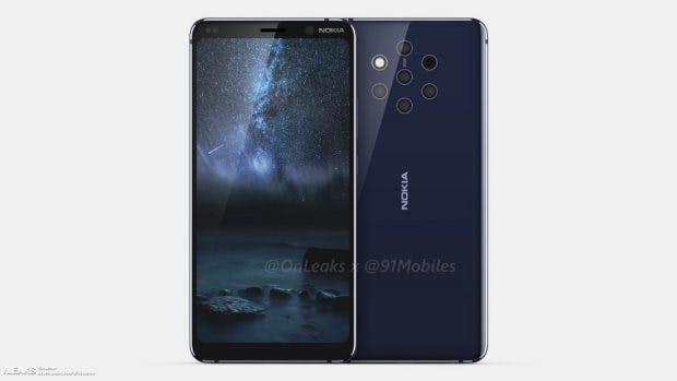 Das Nokia 9 von HMD Global soll fünf Haupt-Kameras besitzen. (Render: Onleaks)