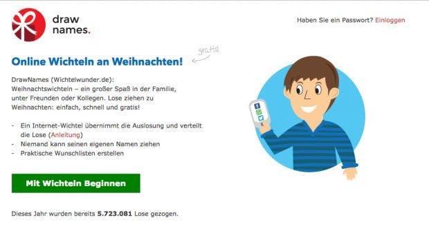 Wichteln: Web-Apps wie Draw Names helfen beim Auslosen der Paarungen. (Screenshot: drawnames.de)
