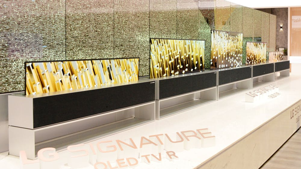 Aufrollbarer Fernseher von LG. (Foto: LG)