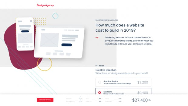 Der Kostenrechner von Designagency.io schätzt die Kosten für die Entwicklung einer Unternehmens-Website. (Screenshot: t3n.de)