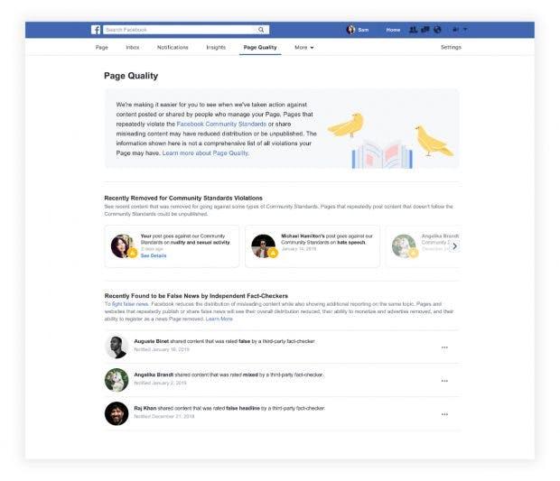 """Facebook: Die neue """"Page-Quality""""-Übersicht für Seitenbetreiber. (Screenshot: Faceboo)"""
