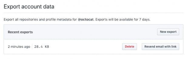 Über euer GitHub-Profil könnt ihr eure Profildaten anfordern. Ein Download-Link wird euch per E-Mail zugeschickt. (Screenshot: GitHub)