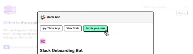 """Über das Feature """"Remix Your Own"""" kann ein Code kopiert und nach belieben angepasst werden. (Screenshot: Glitch)"""