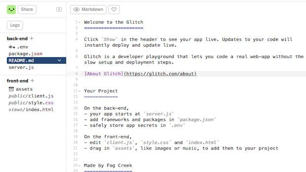 Der Glitch-Editor erinnert an eine vollständige Entwicklungsumgebung – nur im Webbrowser. (Screenshot: Glitch)