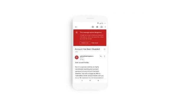 Vor Phishing wird in der neuen Gmail-App mit knalligem Rot gewarnt. (Bild: Google)