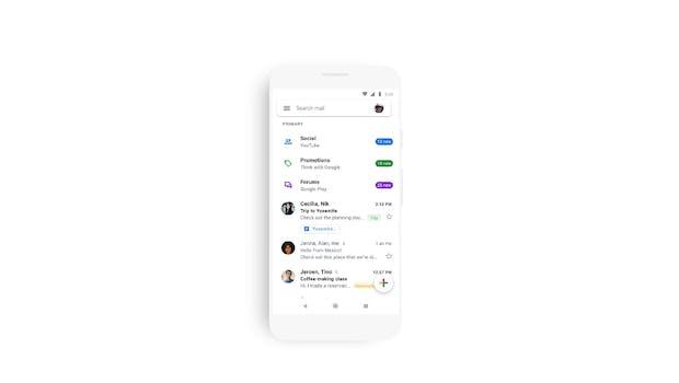 Das neue Design der Gmail-App ist sehr – weißlastig. (Bild: Google)
