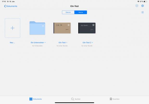 Nutzern dürfte direkt die bessere Möglichkeit zur Organisation von Notizbüchern auffallen. Diese können jetzt in Ordnern abgelegt werden, die wiederum Unterordner beinhalten können. (Screenshot: Goodnotes / t3n.de)