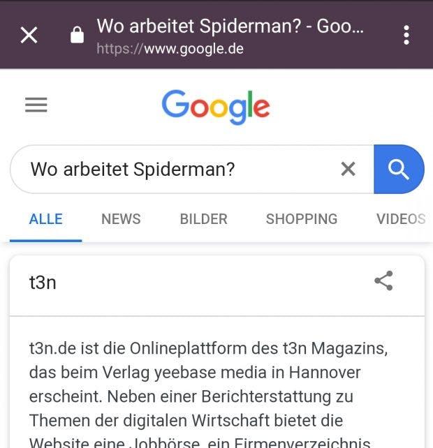 Eine manipulierte Suche auf einem Mobilgerät. (Screenshot: Google/t3n)
