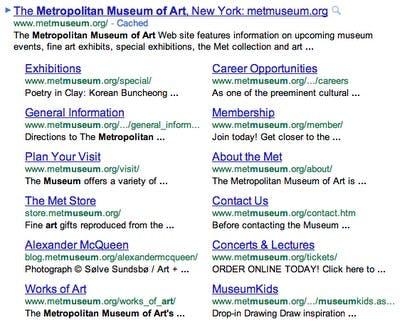 Google Expanded Sitelinks