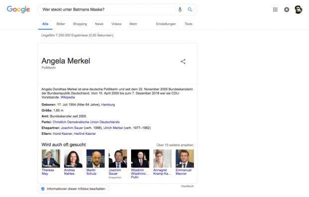 Manipuliertes Google-Suchergebnis. (Screenshot: Google/t3n)