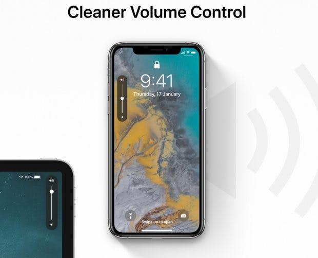 iOS 13 soll eine besseres Userinterface für die Lautstärkeregelung bringen. Hier nur ein Konzept. (Bild: 9to5 Mac)