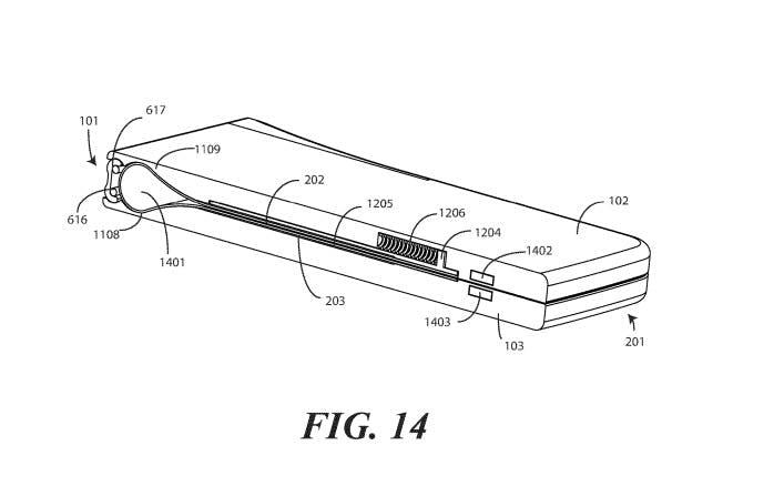 Designskizze aus einem Motorola-Patentdokument der United States Patent and Trademark Office (PTO oder USPTO). (Screenshot: t3n)