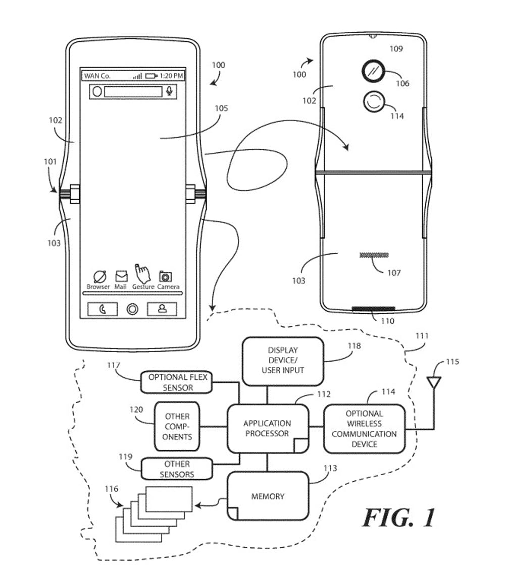 Designskizze aus einem Motorola-Patentdokument der United States Patent and Trademark Office (PTO oder USPTO). (Screenshot: t3n.de)