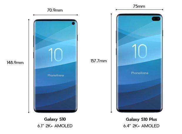 Die angeblichen Abmessungen des Samsung Galaxy S10 und S10 Plus. (Bild: Phonrearena)