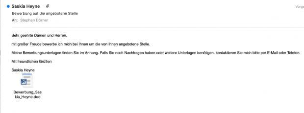 E-Mail mit Trojaner in einer Word-Datei als Anhang. (Screenshot: t3n)