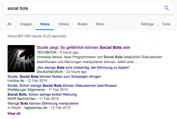 Die Überschriften zu Social Bots (Screenshot: t3n)