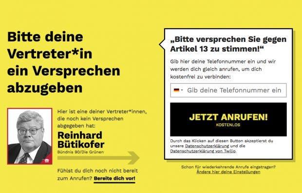 """""""Wir werden nur Politiker*innen wählen, die gegen Artikel 13 stimmen"""": Pledge 2019 verbindet Reformgegner mit EU-Parlamentariern. (Screenshot: pledge2019.eu / t3n)""""Wir werden nur Politiker*innen wählen, die gegen Artikel 13 stimmen"""": Pledge 2019 verbindet Reformgegner mit EU-Parlamentariern. (Screenshot: pledge2019.eu / t3n)"""