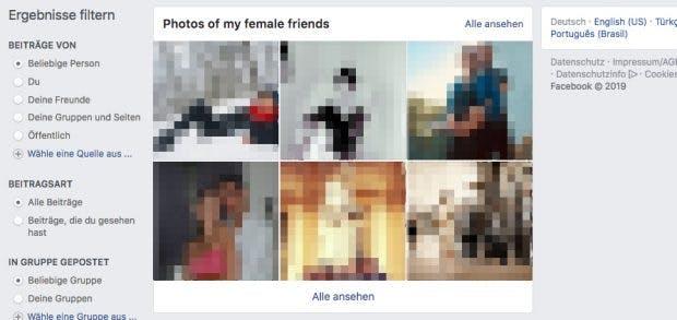 Fotos von Facebook-Freundinnen lassen sich gezielt mit einem Suchbegriff auffinden. Bei Männern geht das offenbar nicht. (Screenshot: Facebook/t3n Unkenntlichmachung: t3n)