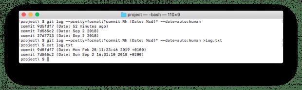 """Mit """"auto"""" gibt Git außerhalb von Terminal-Pagern wieder das Standardformat aus. (Screenshot: t3n.de)"""