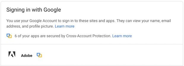 Der produktübergreifende Kontoschutz wurde unter anderem mit Adobe entwickelt. (Screenshot: Google)