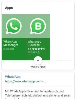 Das mobile Google-Suchergebnis mit einem hervorgehobenen Play-Store-Apps. (Screenshot: t3n/Google)