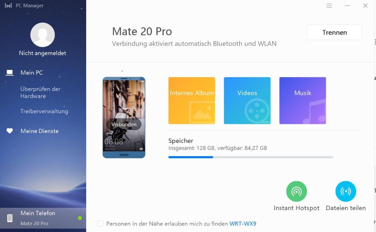 Huawei Share 3.0:  Auch den Aufbau eines mobilen Smartphone-Hotspots könnt vom Notebook aus initiieren. (Screenshot: t3n)