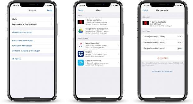 Aboverwaltung am iPhone: Seit iOS-12.1.4-Update schneller erreichbar. (Bild: t3n; Smartpmockups)