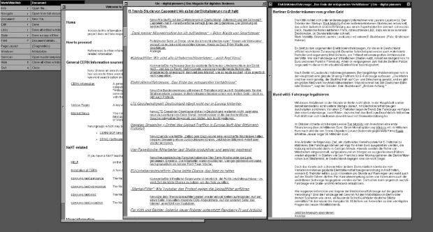 Surfing like it's 1990: Das CERN bringt den ersten Webbrowser der Welt zurück. (Screenshot: worldwideweb.cern.ch / t3n)