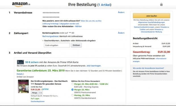 Amazon Monatsabrechnung (Screenshot: Amazon)