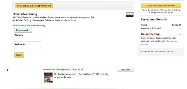 Eingabeformular für Vorname und Nachname. (Screenshot: Amazon.de)