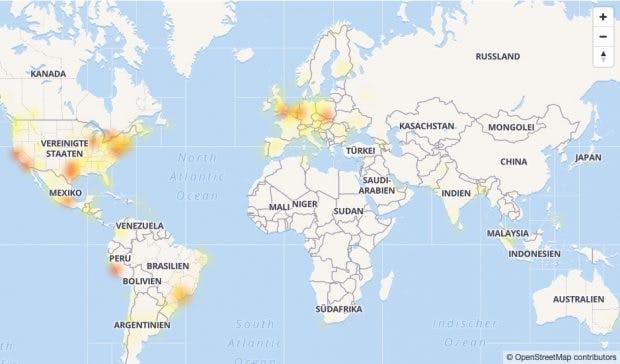 Facebook down Karte der Störungen