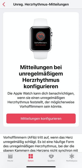 Die EKG-App der Apple Watch Series 4. (Screenshot: Apple)